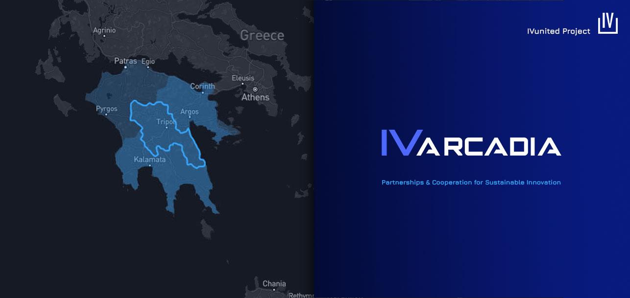 IVArcadia presentation visual : logo + slogan + regional impact map